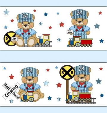 Teddy Bear Train Wallpaper Border Decals Boy Nursery Transportation