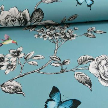 Ideco Rose Garden Bird Butterfly Pattern Floral Motif Wallpaper A14602