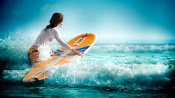 Surfing waves water sea girl wallpaper 1920x1080 117562