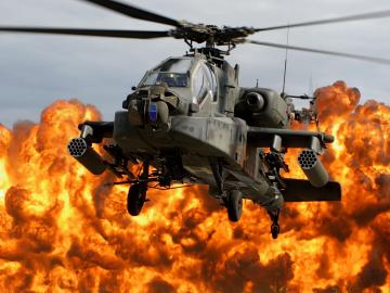ah 64d apache wallpaper helicopter blade cab explosion fire