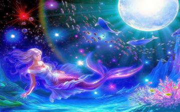 All new wallpaper Mermaid moon fantasy widescreen hd wallpaper