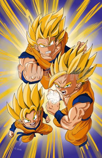 Goku Gohan Goten Super Saiyan Dragonball Z by GudFit