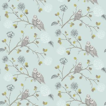 Owl Floral Pattern Bird Flower Leaf Glitter Motif Wallpaper 665001