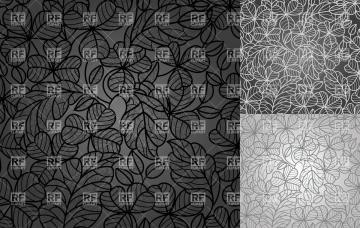 Black and grey retro wallpaper with clover leaves Backgrounds