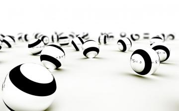 Black and White 3D Balls Reflection HD Wallpaper   wallpapers galery