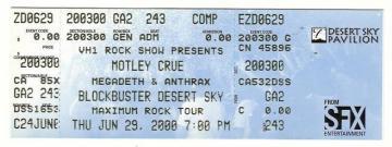 Megadeth Anthrax Full Concert Ticket 62900   Concert Memorabilia