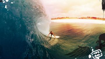 Surfer surfing 1080p Full HD desktop background