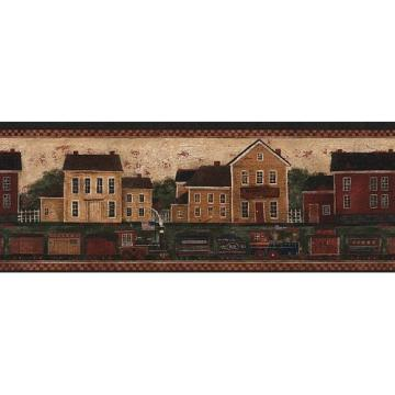 Country Train Wallpaper Border in Border Resource Home