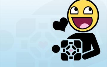 Portal funny Companion Cube meme Aperture Laboratories Awesome Face