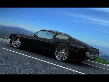 Classic Mustang Fastback by Vizualtech   Black Rear And Side
