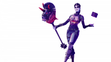 Fortnite Dark Bomber Skin with Cube in her Hands PNG Image