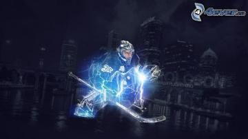 hockey player lightning Tampa Bay Lightning night city