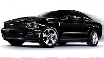 2011 Ford Mustang V6 Front Side Pose in Black Wallpaper