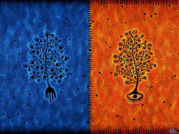 Wallpaper tree blue orange Blue and orange tree