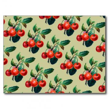 Vintage Sweet Red Cherries Fruit Wallpaper Pattern Postcard Zazzle
