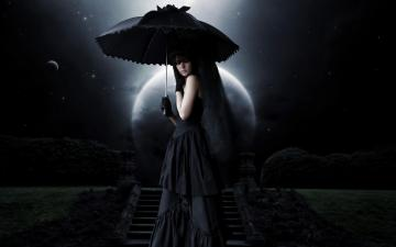 Dark   Gothic Woman Goth Dark Umbrella Wallpaper