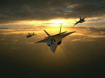 Three F 22 Airplane Sunset Wallpaper Wallpaper