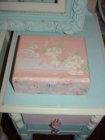 Cigar Box Upcycled Vintage Pink Wallpaper Shabby Chic Storage