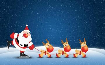 Cute Animated Santa Snow Christmas Screensavers Wallpaper
