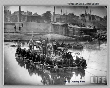 1863 Crossing River Desktop Wallpaper in Vintage
