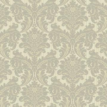 Grey and Tan Strie Flat Damask Wallpaper   Wall Sticker Outlet