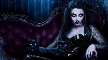Dark fantasy gothic vampire evil horror cats art wallpaper 1920x1080