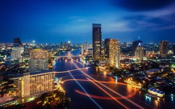 Night Lights Traffic HD Wallpaper Download Bangkok Thailand Night