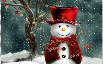 wallpaper of cute christmas snowman computer desktop wallpaper