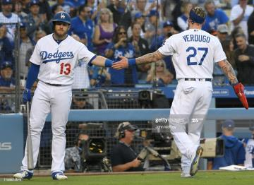 Max Muncy congratulates Alex Verdugo of the Los Angeles Dodgers