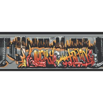 Graffiti Lucky Train Wallpaper Border BlackSilver   Walmartcom