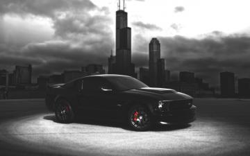 Ford Mustang Wallpaper black car dark night city HD Wallpapers