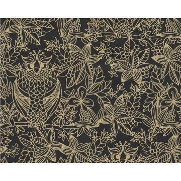 Owl Pattern Bird Floral Leaf Motif Metallic Designer Wallpaper 9711