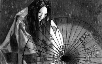 Geisha Wallpaper japan picture black and white photo desktop