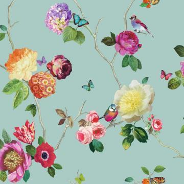 Flower Pattern Bird Butterfly Rose Floral Motif Wallpaper 889800