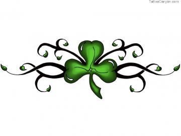 Designs Green Clover On Black Stem Tattoo Wallpaper Picture 3402