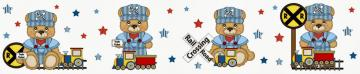 Bear Train Wallpaper Border Decals for baby boy nursery or kids room