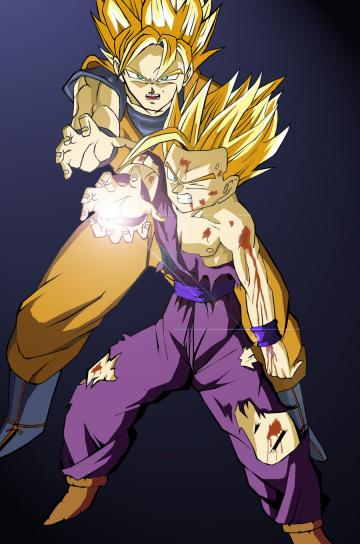 goku gohan kamehameha coloured by eyfu64