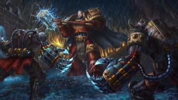 Warhammer 40K space marines sci fi warriors weapons fantasy art