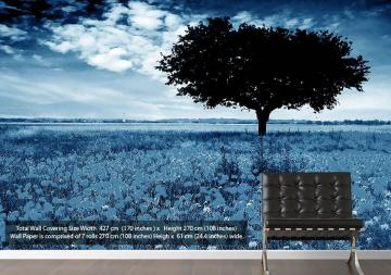 Poppy Field Tree Red On Bw Landscape Blue Vinyl Wallpaper Mural