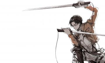 Titan Shingeki no Kyojin Levi Rivaille Anime Blade Sword HD Wallpaper