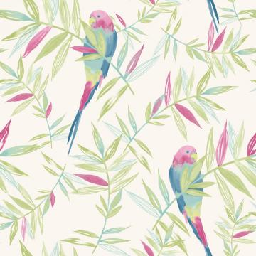 Bird Pattern Tropical Leaf Leaves Painted Motif Wallpaper 209204