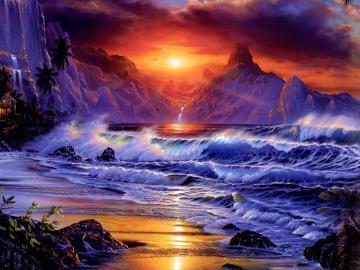 size 1600x1200 desktop wallpaper of amazing fantasy sunset