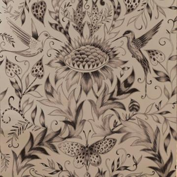 Paradisi Gold Bird Butterfly Motif Designer Floral Wallpaper 50 802