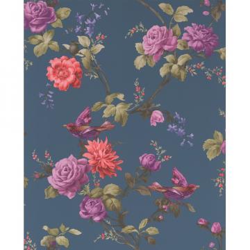 Brown Oriental Bird Motif Flower Floral Leaf Pattern Wallpaper 50 661