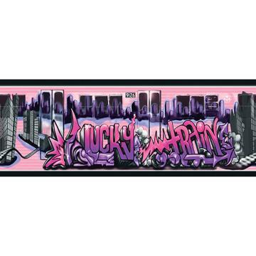 Graffiti Lucky Train Wallpaper Border PurplePink   Walmartcom