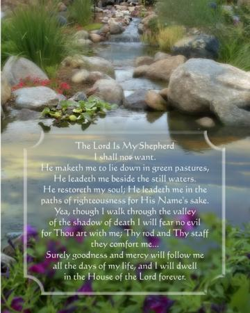 Psalm 23 Verse with pondlakeand rocks background picture