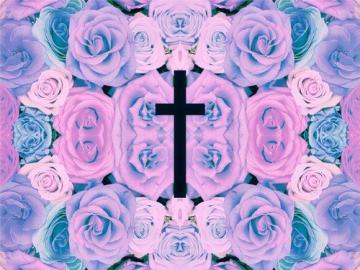 cross text pastel pastel background pastel goth pastel flowers