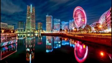 Japan tokyo cityscapes yokohama city lights bay wallpaper 16155