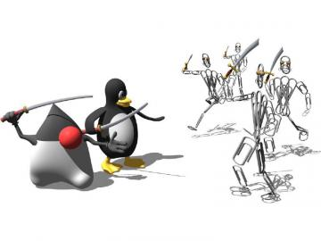 Stylized wallpaper featuring the Linux and Java logos