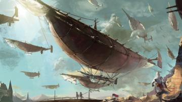 steampunk mechanical ships boats flight sky clouds aircraft f